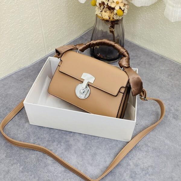 Minimalist Flap Baguette Bag, Khaki