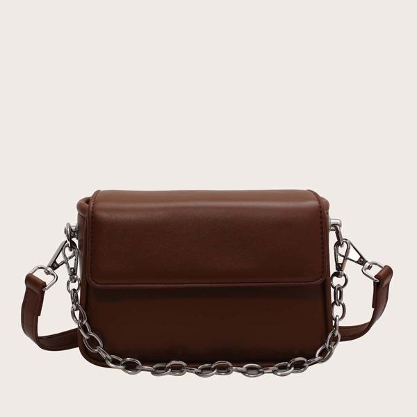 Minimalist Flap Baguette Bag, Rust brown