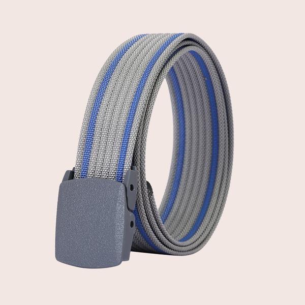 Men Striped Pattern Belt, Grey