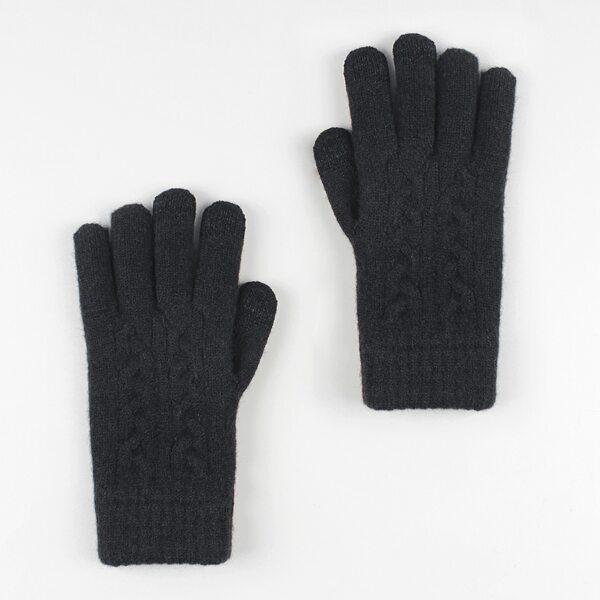 1pair Solid Gloves, Black