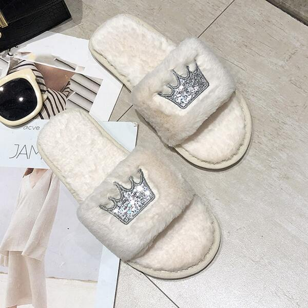 Crown Graphic Fuzzy Slippers, White