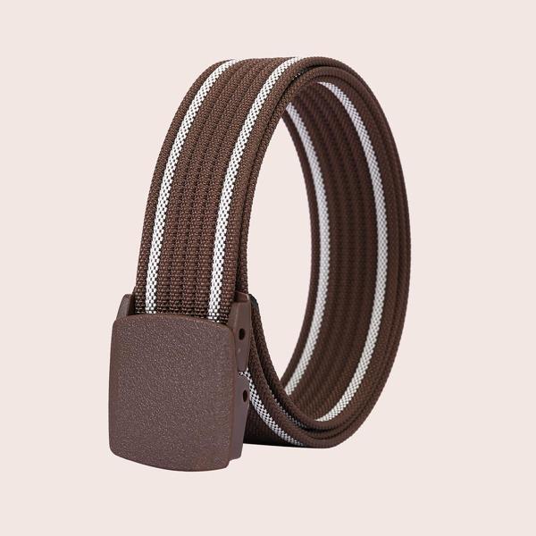 Men Striped Pattern Belt, Chocolate brown