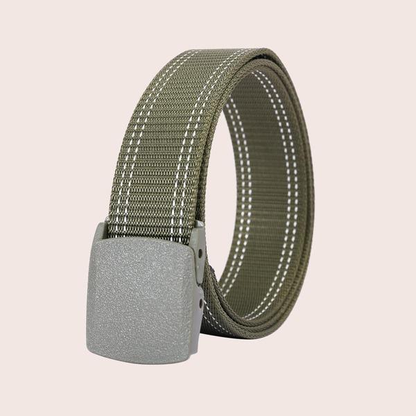 Men Striped Tape Belt, Army green
