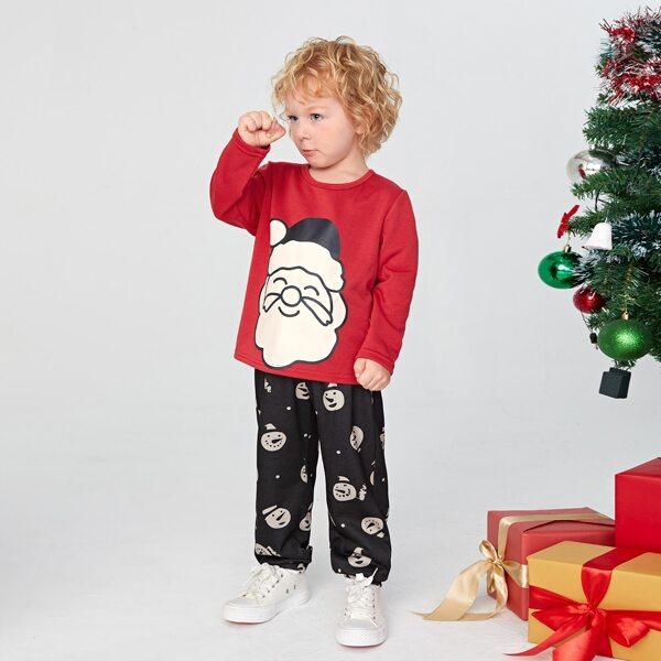 Toddler Boys Christmas Santa Claus Print Tee & Snowman Print Sweatpants, Multicolor