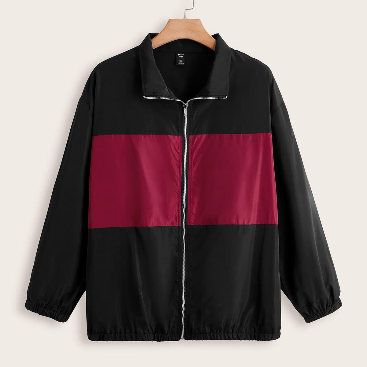 Plus Colorblock Zip Front Jacket