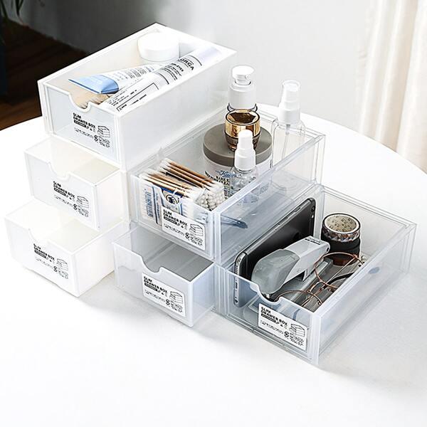1pc Drawer Design Storage Box, White