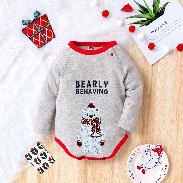 Baby Letter & Cartoon Graphic Contrast Binding Bodysuit, Grey