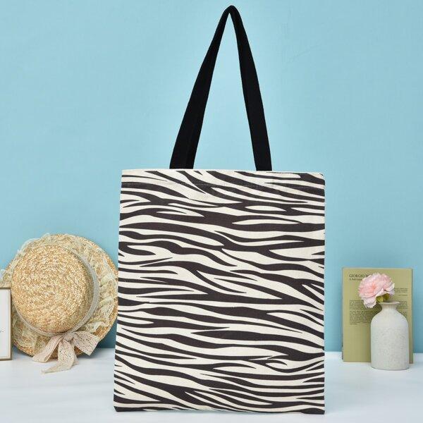 Zebra Stripe Canvas Shopper Bag, Beige