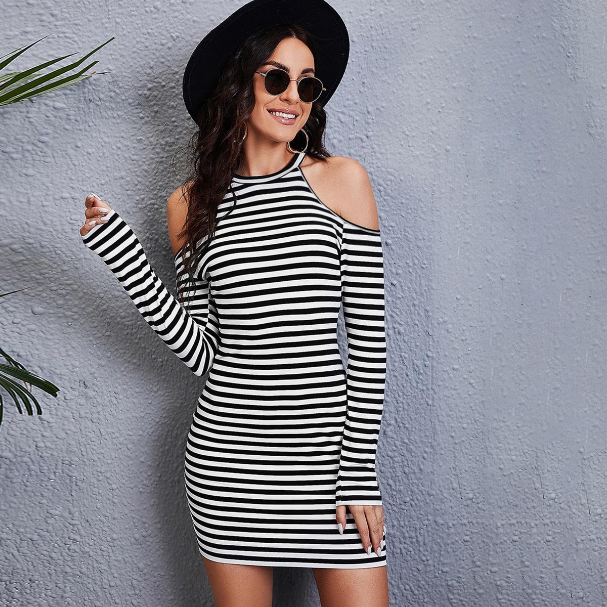 Striped Cold Shoulder Bodycon Dress