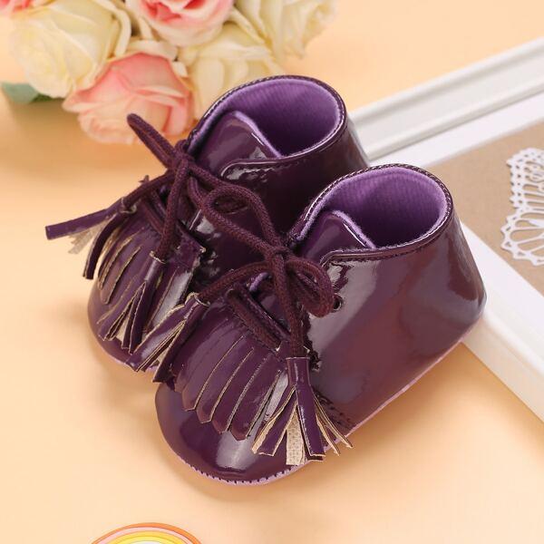 Baby Fringe Decor Lace-up Front Flats, Purple