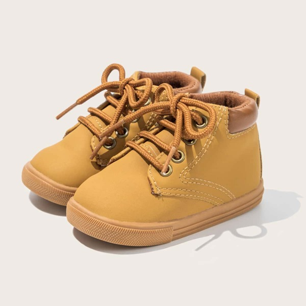 Baby Lace-up Front Sneakers, Khaki