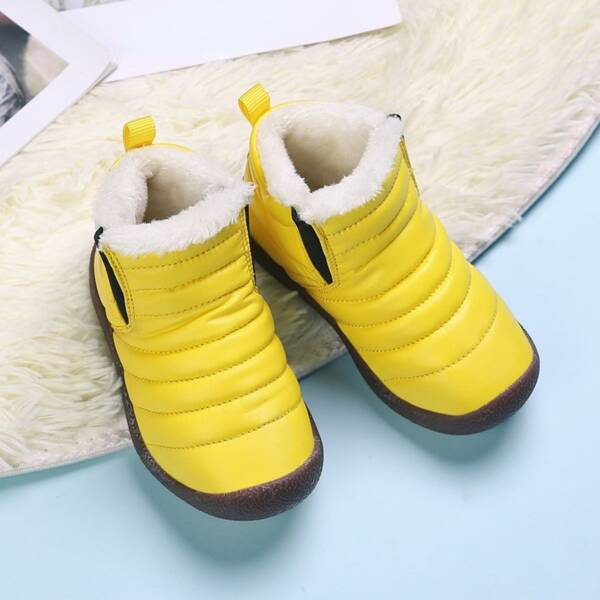 Girls Quilted Slip-On Snow Boots, Yellow