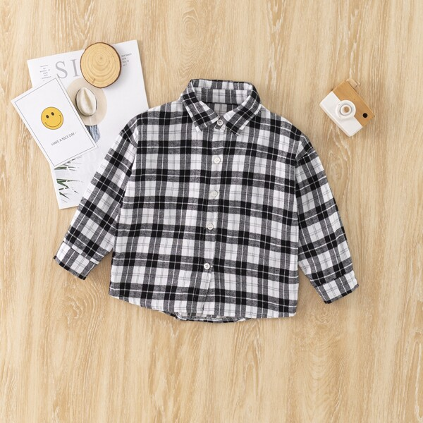 Toddler Boys Tartan Button Up Shirt, Black and white