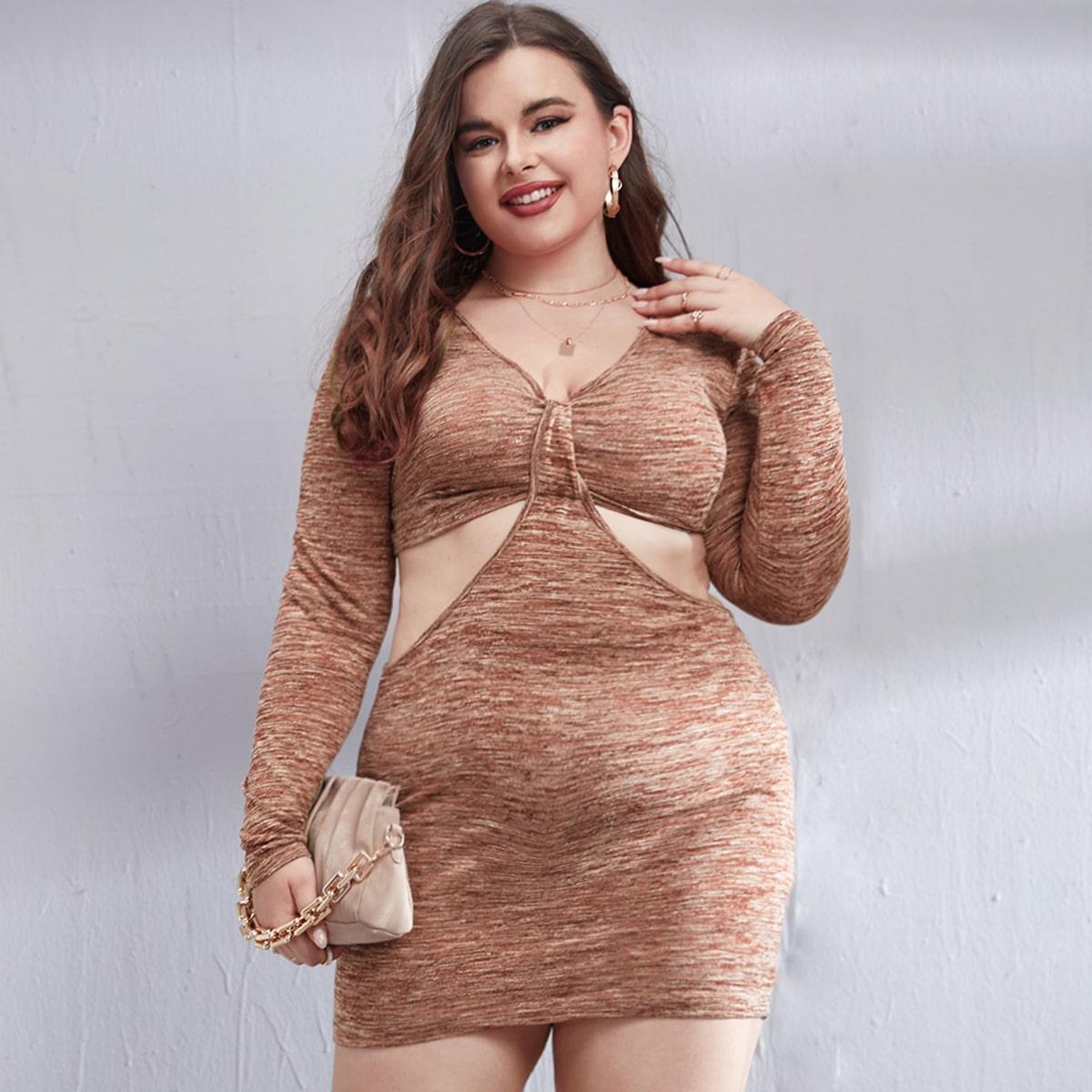 Plus Space Dye Cut Out Waist Bodycon Dress