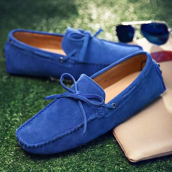 Men Bow Decor Stitch Trim Loafers, Royal blue
