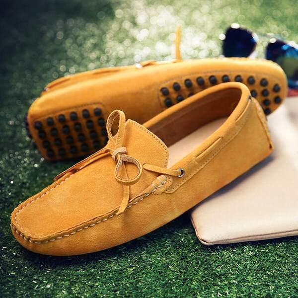 Men Bow Decor Stitch Trim Loafers, Yellow
