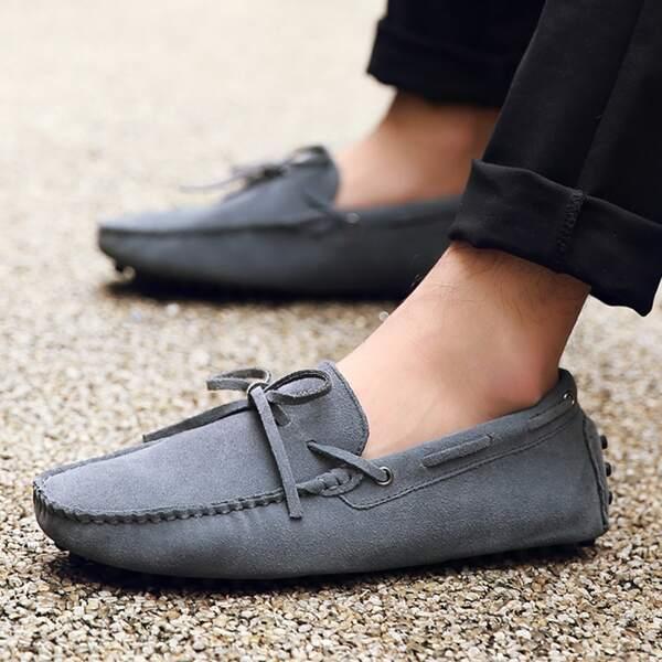 Men Bow Decor Stitch Trim Loafers, Dark grey