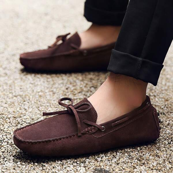 Men Bow Decor Loafers, Coffee brown