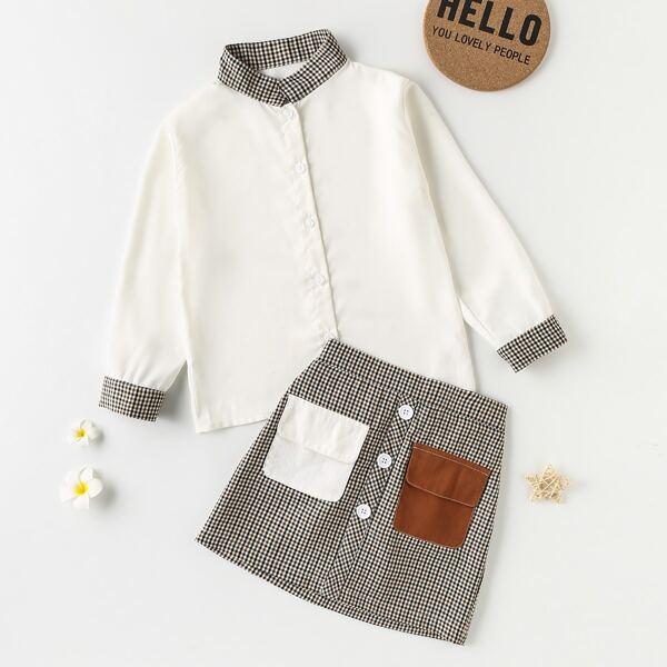 Girls Plaid Button Through Blouse & Flap Pockets Skirt, Multicolor