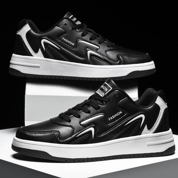 Men Letter Graphic Lace Up Front Skate Shoes, Black