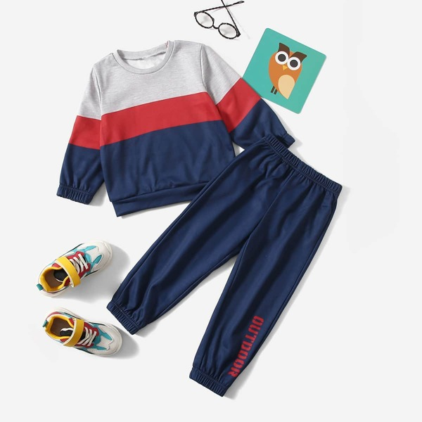Toddler Boys Cut And Sew Sweatshirt & Letter Graphic Sweatpants, Multicolor