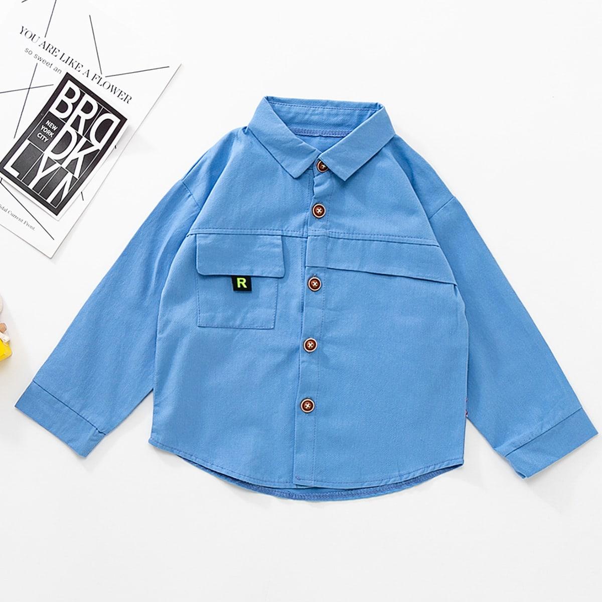 Niñitos Camisa con parche de letra con diseño de solapa