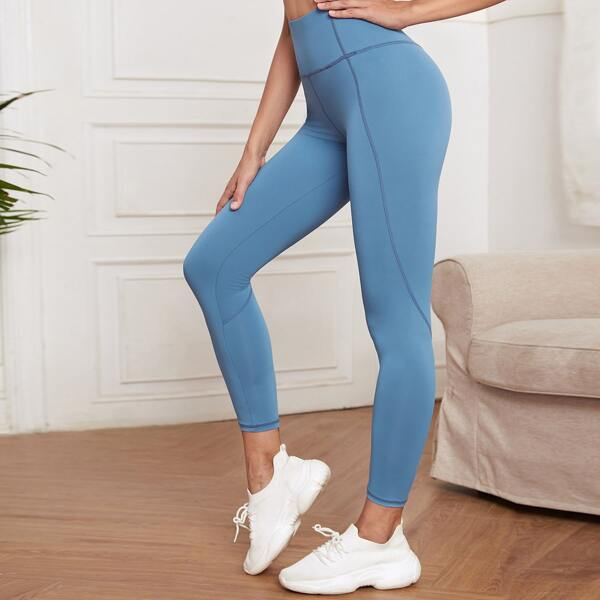 Solid Wide Waistband Sports Leggings, Baby blue