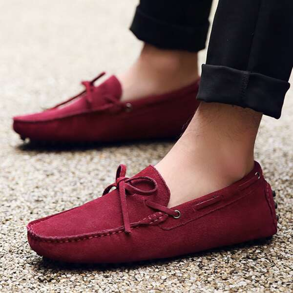Men Bow Decor Knit Loafers, Burgundy