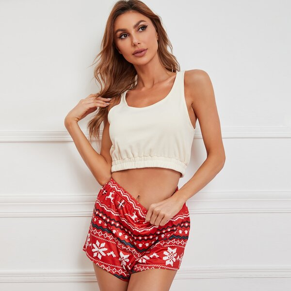 Scoop Neck Christmas Print PJ Set, Red and white