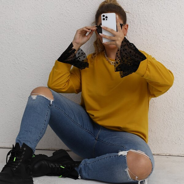 Plus Contrast Dobby Mesh Cuff Raglan Sleeve Pullover, Yellow