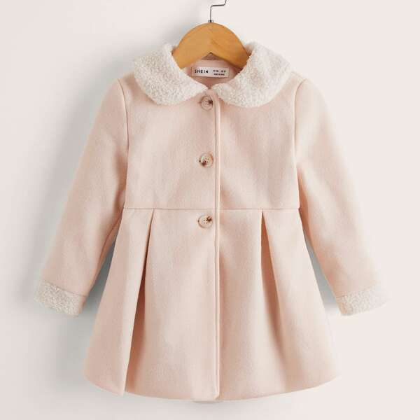 Toddler Girls Peter-pan Collar Fold Pleated Overcoat, Baby pink