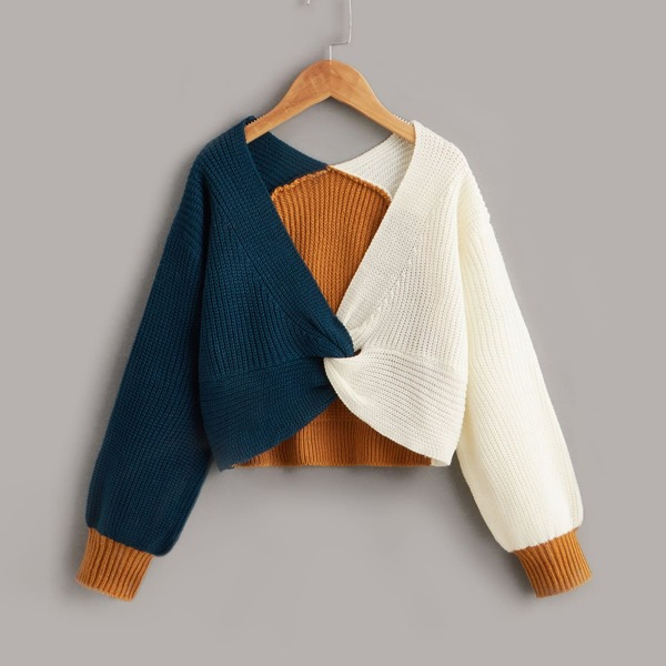 Girls Cut And Sew Drop Shoulder Twist Hem Sweater, Multicolor
