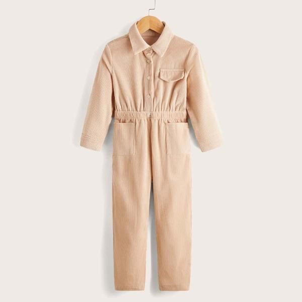 Toddler Boys Half Button Pocket Patched Corduroy Jumpsuit, Apricot