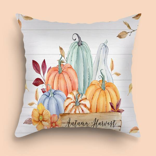 Pumpkin Print Cushion Cover Without Filler, Multicolor