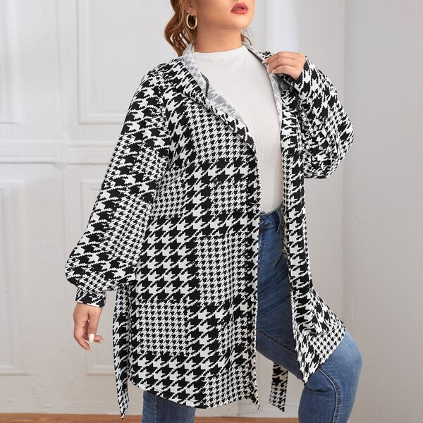 Plus Houndstooth Lantern Sleeve Hooded Belted Coat, Black and white