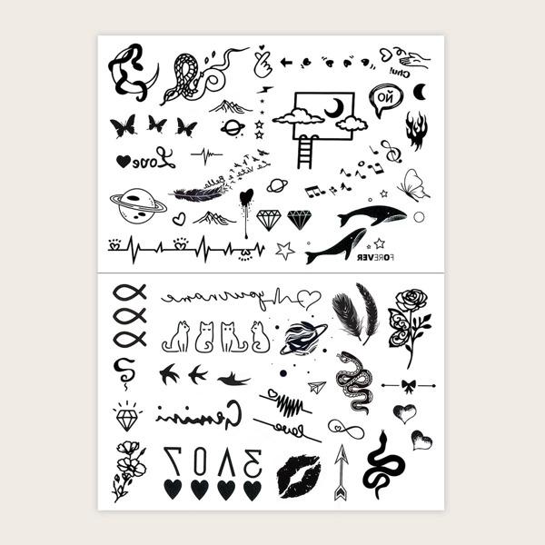 2sheets Cartoon Graphic Tattoo Sticker, Black