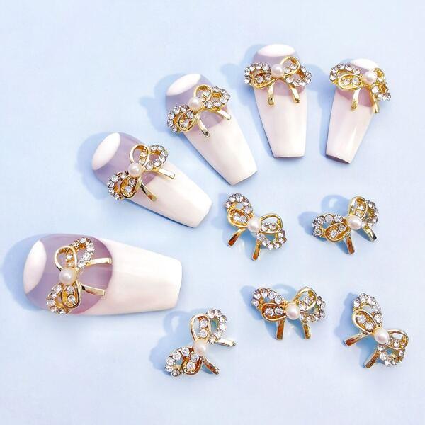 10pcs Bow-Knot Rhinestone Nail Art Decoration, Gold