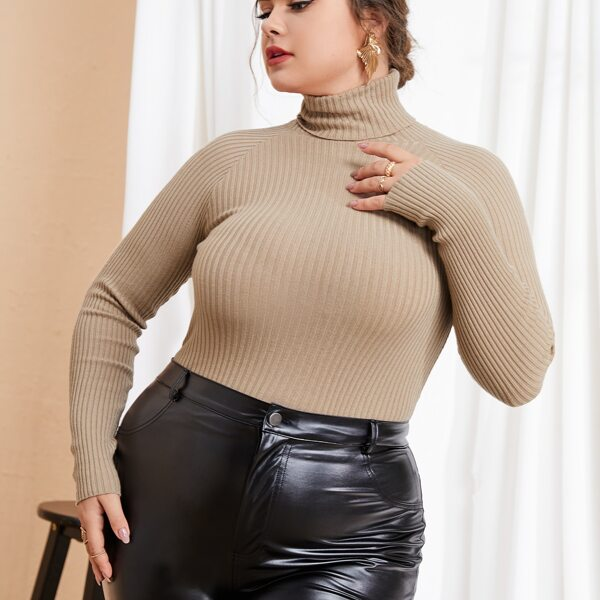 Plus Solid High Neck Raglan Sleeve Sweater, Camel