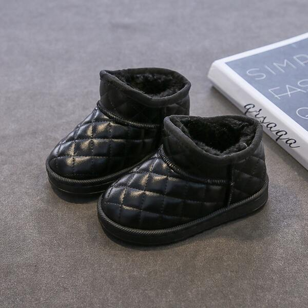 Boys Quilted Embossed Plush Inside Boots, Black