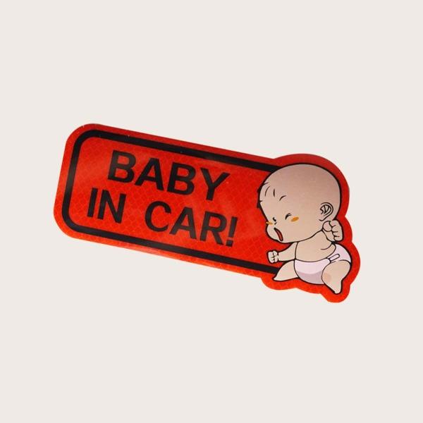1sheet Baby Slogan Graphic Car Sticker, Red