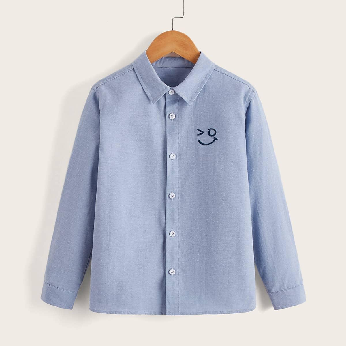 Рубашка с узором лица с вышивкой для мальчиков