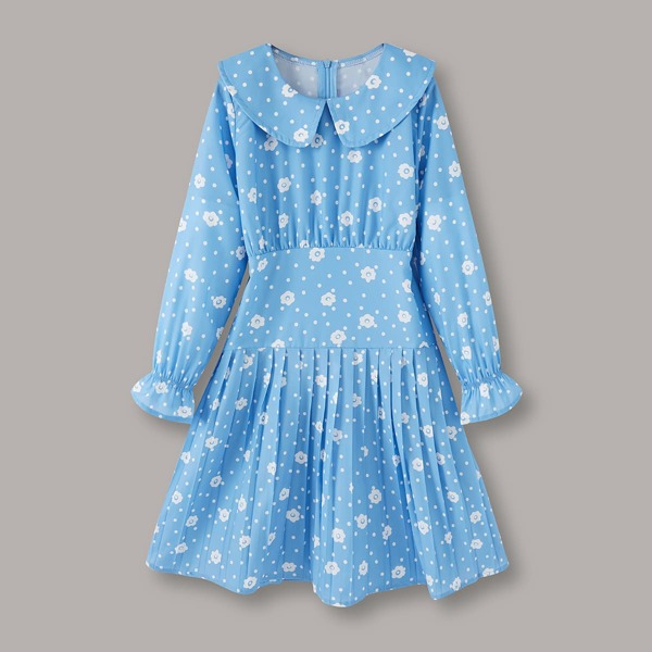 Girls Polka Dot & Floral Print Flounce Sleeve Pleated Dress, Blue