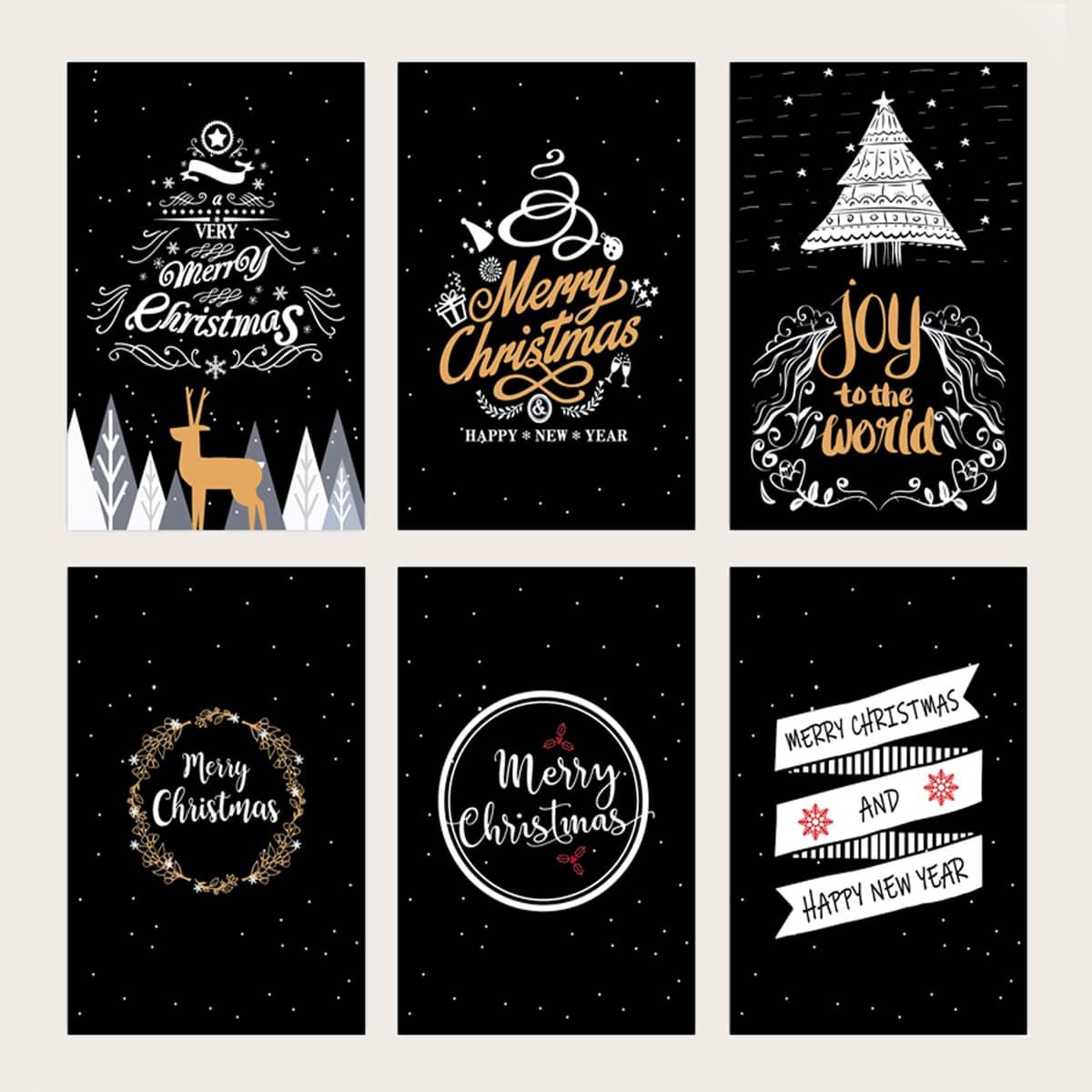 6шт Поздравительная открытка рождественский с текстовым принтом случайный