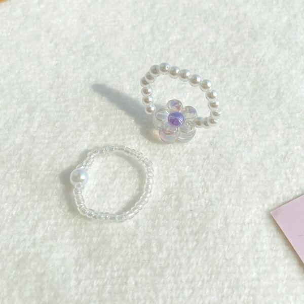 2pcs Flower Decor Ring, Purple