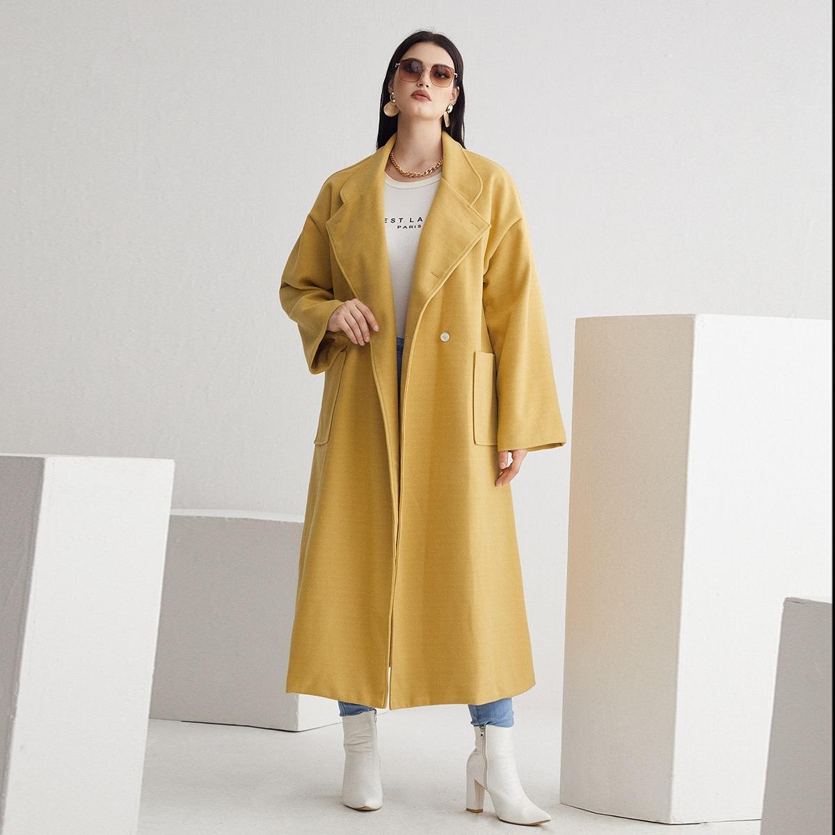 размера плюс Пальто двубортный