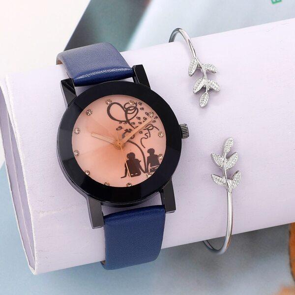 1pc Round Pointer Quartz Watch & 1pc Bracelet