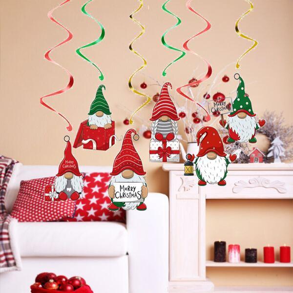 6pcs Christmas Dwarf Print Spiral Decoration, Multicolor