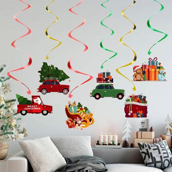 6pcs Christmas Car Print Spiral Decoration, Multicolor