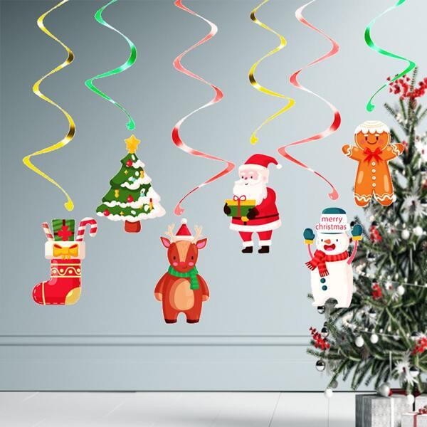 6pcs Christmas Pattern Spiral Decoration, Multicolor