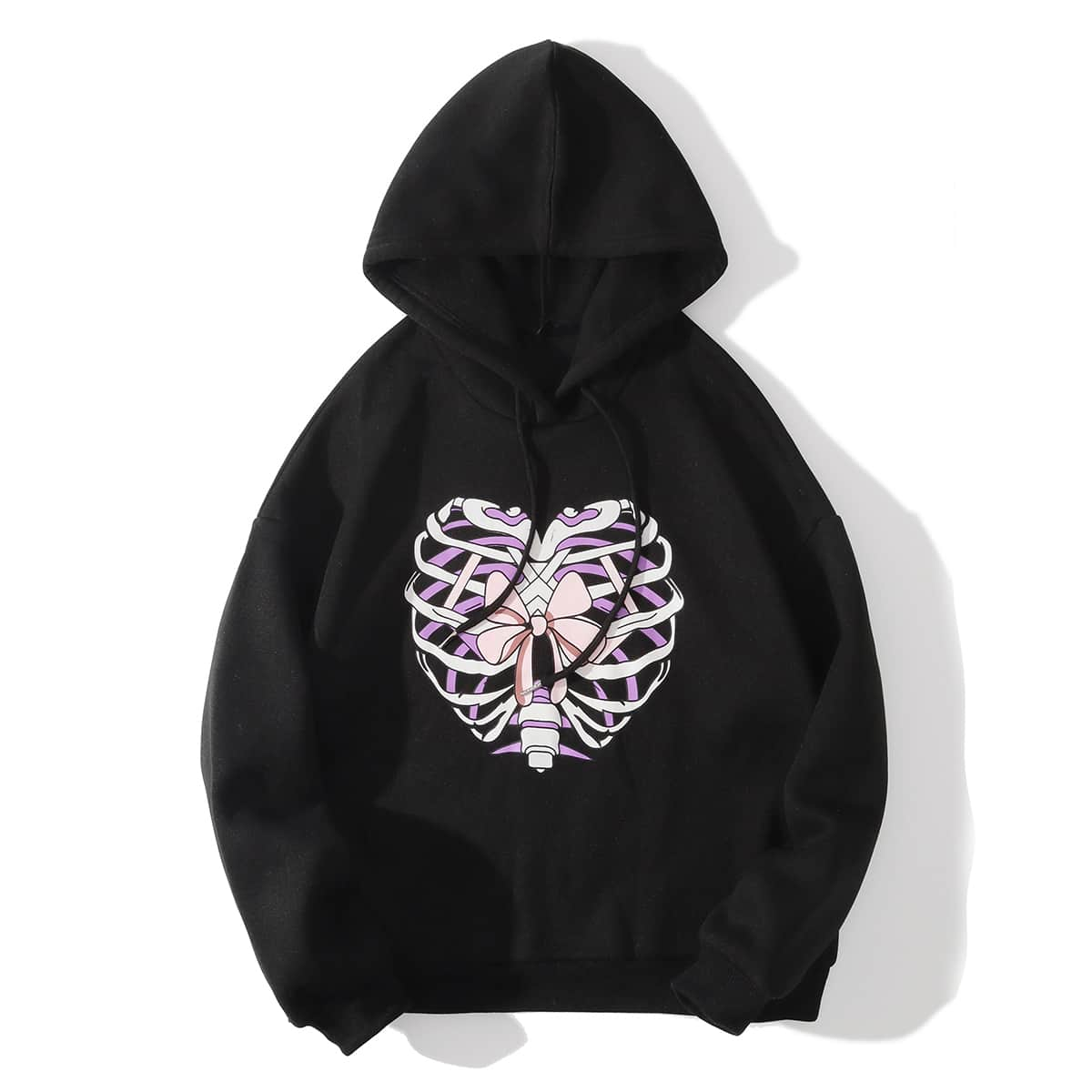 Drawstring Detail Bow & Skeleton Print Hoodie
